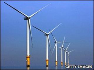 Wind farm in the River Mersey