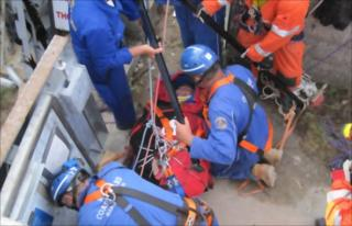 The man is rescued by Coastguard cliff rescue teams and firefighters