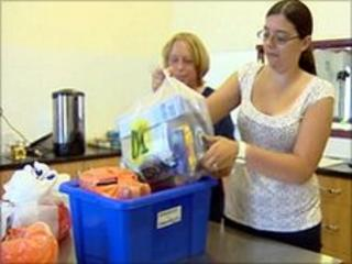 Food parcel being packed at North Coast Church, Towyn, Conwy