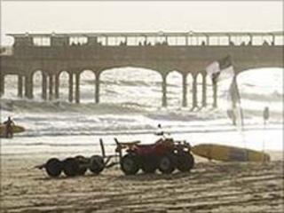 RNLI lifeguard equipment on Bournemouth beach
