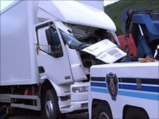 The lorry which struck the officers was recovered in the Irish Republic
