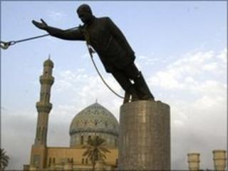 Statue of Saddam Hussein being toppled in Baghdad after the invasion