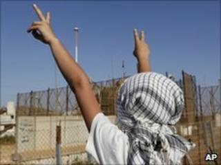 A boy takes part in a demonstration at the Lebanese-Israeli border in Kfar Kila, southern Lebanon, 2 June
