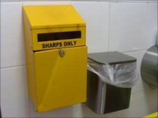 Sharps bin in toilet