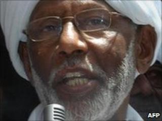 File pic of Sudanese Islamist opposition leader Hassan al-Turabi