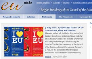 Belgian EU presidency website - screen grab