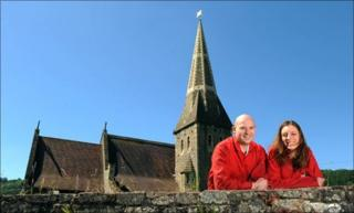 Steve Edwards and Victoria Hope outside St Cynog's church at Boughrood, near Brecon