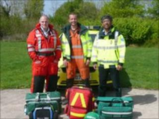 L-R: Doctors Mike Bloom, Ben Warrick and Suman Mitra, members of the North Wales Emergency Doctor Service
