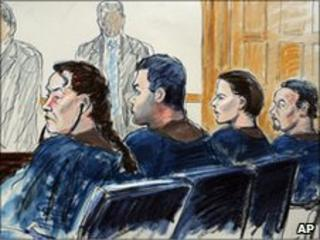 Alleged spies (left-right) Vicky Pelaez, Richard Murphy, Cynthia Murphy and Juan Lazaro appear in court, 1 July