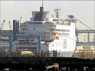 P&O ferry in Hull docks