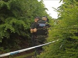 Police at rape scene