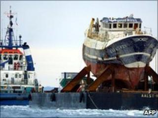 File photo of the wrecked Bugaled Breizh on 13 January 2004