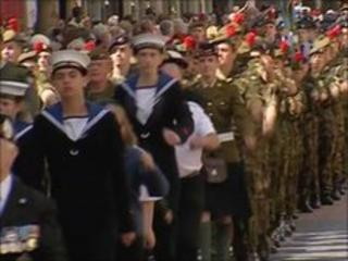 Armed forces marching through Perth