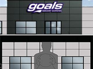 Designs of the new Goals Soccer Centre showing front and side of the building