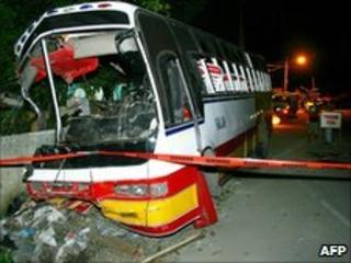 A passenger bus crashed into a concrete wall in the Philippines