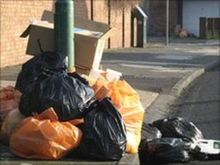 Rubbish awaiting collection