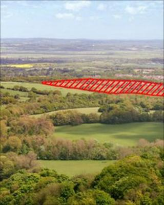 View from Folkington Down of the proposed site
