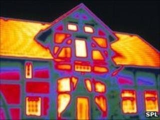 Thermogram of house showing energy loss