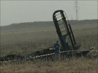 Wreckage of Romanian military aircraft
