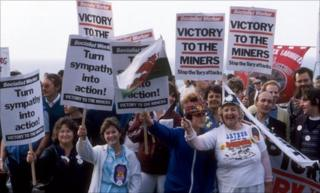 Miners and their families at the TUC conference in 1984