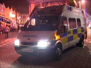 Police van in Newquay