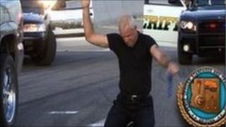 A still from an Arizona police training video showing how to enforce the new law