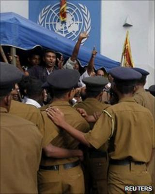 Protesters outside the UN office in Colombo on July 6, 2010