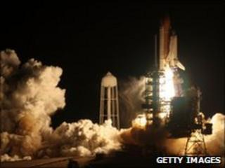 Space shuttle Discovery blasts off in April 2010