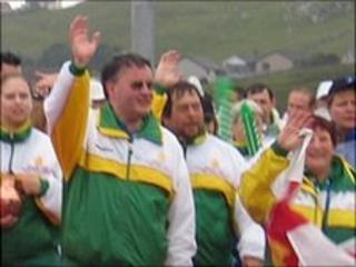 Dave Dorey leading the Guernsey Island Games team in the opening ceremony in the 2005 Games in Shetland