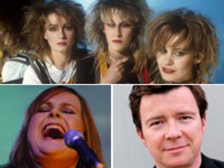 Clockwise from top - Bananarama in the 1980s; Rick Astley and Alison Moyet