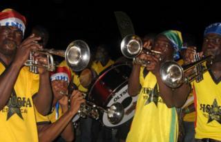 Trumpeters at Accra's Kotoka airport