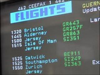 Guernsey airport flight arrivals information on Ceefax