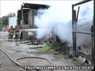 Luxulyan fire. Pic: Paul Williams, St Austell Voice