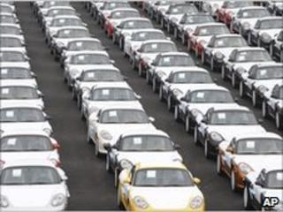 Porsche cars waiting for export