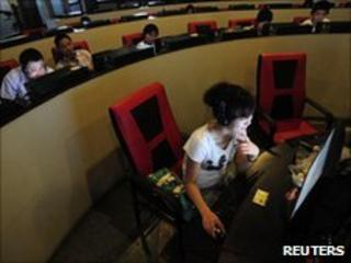 Internet users at an internet cafe in Hefei, Anhui province, on 8 June 2010