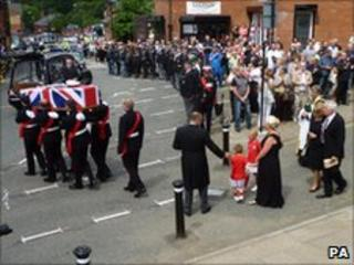 The scene outside Wigan Parish Church before Sgt Darbyshire's funeral