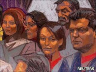 Some of the suspects in court, 8 July 2010