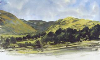 The Cambrian Mountain scene watercolour painted by Prince Charles