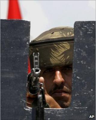 An army soldier in Srinagar on 9 July 2010