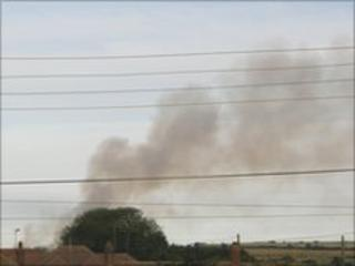 Smoke from the barn fire on the Isle of Sheppey