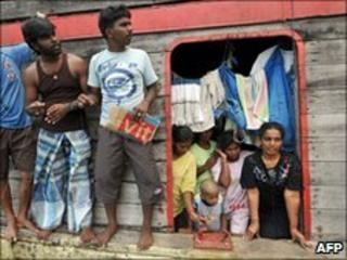 Sri Lankan asylum seekers on board their boat stopped by Indonesian authorities on their way to Australia (2009)