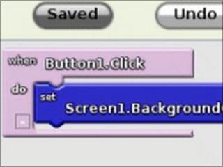 Screengrab of App Inventor, Google