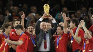 Spain celebrate winning the World Cup