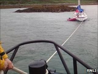 Stranded yacht. Pic: RNLI