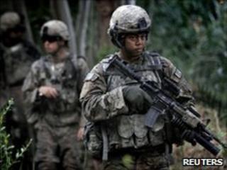 US soldiers patrol in Afghanistan