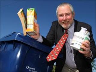 Councillor Jim Mason with some of the materials that can now be recycled.
