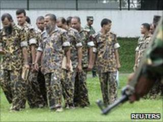 Members of Bangladesh Rifles (BDR) accused of a mutiny. Photo: 12 July 2010