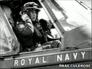Prince Charles in Wessex helicopter
