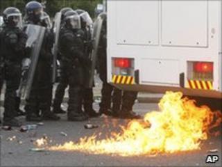 Petrol bomb thrownat police