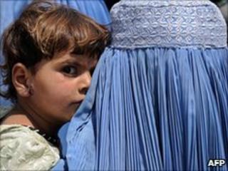 Afghan woman and girl
